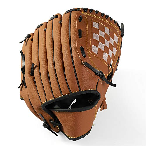 DINGZHAO Baseballhandschuh Sport Batting Gloves PU Leder Linkshand Catcher's Mitt Softballhandschuhe 10,5 Zoll 12,5 Zoll für Erwachsene Jugendkinder (braun Erwachsene (12,5