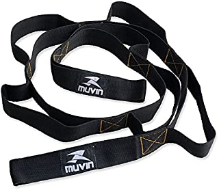 Muvin Stretch Strap - Yoga Strap - 8 Loops Non-Elastic Band - for Home Workout and Stretching, Pilates, Sports, Phisycal T...