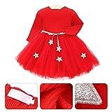 Vestido de tutú de punto con mangas largas para bebés Vestido de tul con princesa infantil y falda con mezcla de algodón con cintura de estrellas para niños(100-rojo)