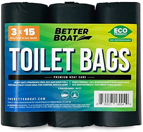Better Boat 45 Portable Toilet Bags for Camping Boating Outdoors 100 Biodegradeable for Use product image