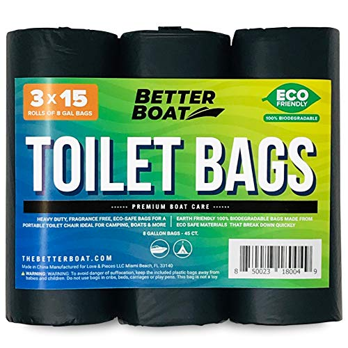 Better Boat 45 Portable Toilet Bags for Camping Boating Outdoors 100% Biodegradeable for Use with 5 Gallon Bucket