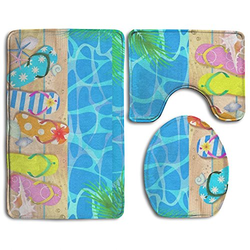 Wooden Board With Starfish And Flip Flop Bath Mat,Bathroom Carpet Rug,Non-Slip 3 Piece Bathroom Mat Set