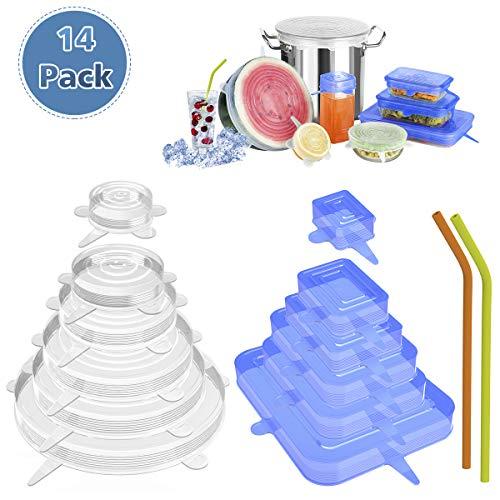 【14pcs】Tapas elásticas de silicona, tapas rectangulares y redondas expandibles para varios recipientes con 2 pajitas, reutilizables y duraderas apto para lavavajillas, microondas, congelador