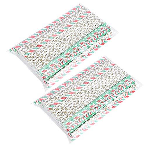 Paja de fiesta de paja de beber de papel de paja de Navidad de 200 piezas para cumpleaños, bodas, Navidad