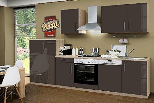 idealShopping Küchenblock mit Geschirrspüler und Ceranfeld Premium 310 cm in lava glänzend