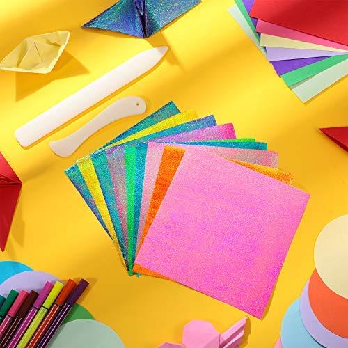 100 Hojas de Papel de Origami de Doble Cara para Niños, 50 Hojas de Papel Plegable Brillante, 2 Herramienta de Plegadora de Papel para Manualidades Scrapbooking Cuero Encuadernación