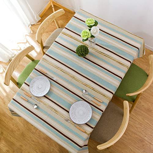 Mantel Rectangular Estilo algodón a Rayas decoración de la Mesa de jardín, Utilizado para la Sala de Estar y la Mesa de Comedor de la Cocina, Raya Azul 110 * 110 cm