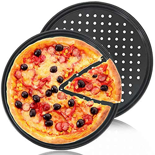 2Pcs Pizza Pan with Holes,12 Inch Round Non-Stick Pizza Crisper Pan for Oven,Perforated Bakeware for Home Kitchen Baking