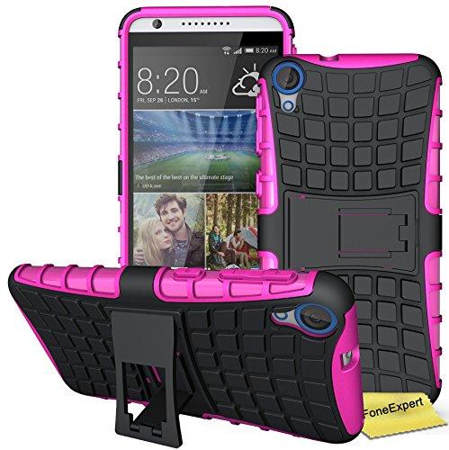 FoneExpert® HTC Desire 820 Handy Tasche, Hülle Abdeckung Cover schutzhülle Tough Strong Rugged Shock Proof Heavy Duty Case für HTC Desire 820 + Bildschirmschutzfolie (Rosa)