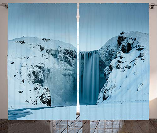 """Ambesonne Waterfall Curtains, Frozen Waterfall Heavenly Landscape View with Mountains Covered with Snow Art, Living Room Bedroom Window Drapes 2 Panel Set, 108"""" X 96"""", Petrol Blue"""