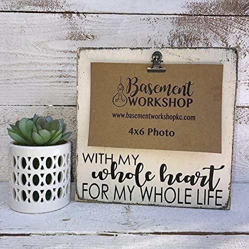 by Unbranded With my whole heart for my whole life, bloque de fotos, marco de clip, marco de madera, regalo de boda, regalo de compromiso