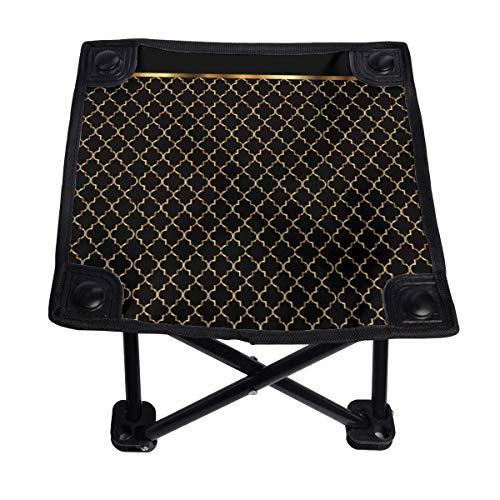 Elegante silla plegable de color negro y dorado con patrones de cuadrifolio pequeño, portátil, ligero, banco Oxford al aire libre para camping, pesca, senderismo