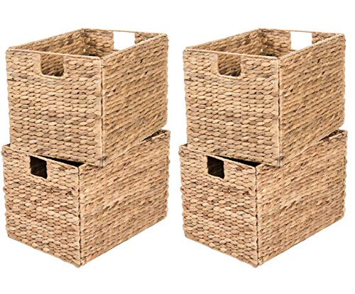 Yankee Trader 4 Decorative Hand-Woven Small Water Hyacinth Wicker Storage Basket, 16x11x11 Perfect for Shelving Units