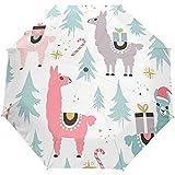 Nette Karikatur-Tierkamel-Lama-Winter-Weihnachtsneues Jahr-offener Selbstregenschirm-Sonnenregenschirm Anti-UV, der kompakten automatischen Regenschirm faltet