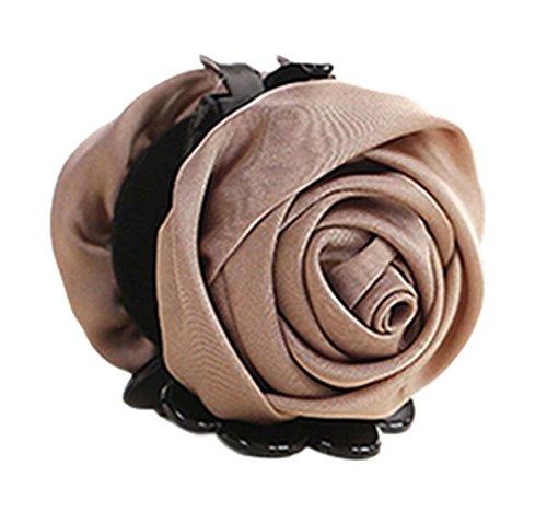 Beaux clips artificiels de griffe de cheveux de fleur de satin artificiels de Rose agrafes de mâchoire de queue de cheval, kaki