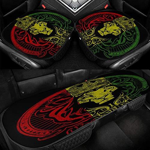 Yuniker African Flag The Lion of Judah Rasta Rastafari Car Ice Cushion Universal Car Seat Protector Soft Cool Bottom Seat Covers 3 Pcs Non-Slip Cushion Mats for Car Truck SUV Van Mpv