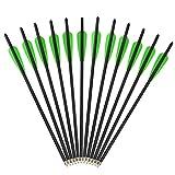 AMEYXGS 12pcs Flechas de Ballesta Pernos de Ballesta Flecha de Carbono 16' 17' 18' 20' 22' para la Caza de Ballesta o la Práctica de Tiro con Arco (Green 2, 16')