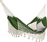 ECOMUNDY Romance XL 360 - Hamaca clásica con flecos, tejida a mano, algodón orgánico, 160 x 240 x 360 cm, color verde/crudo