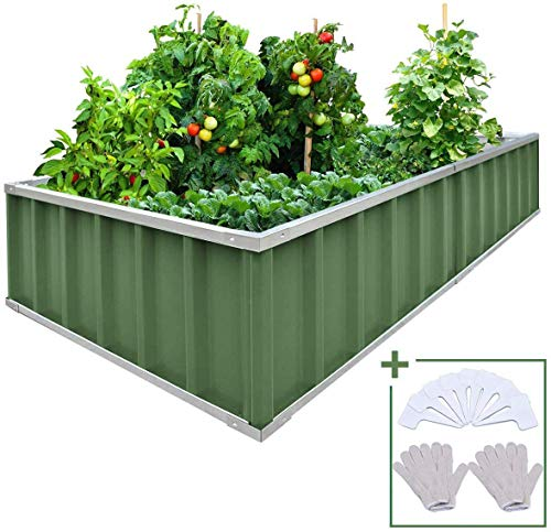 "Extra-Thick 2-Ply Reinforced Card Frame Elevated Raised Garden Bed Kingbird Galvanized Steel Metal Planter Kit Box Green 68""x 36""x 12"" Including 8pcs T-Type Tags a Pair of Gloves"