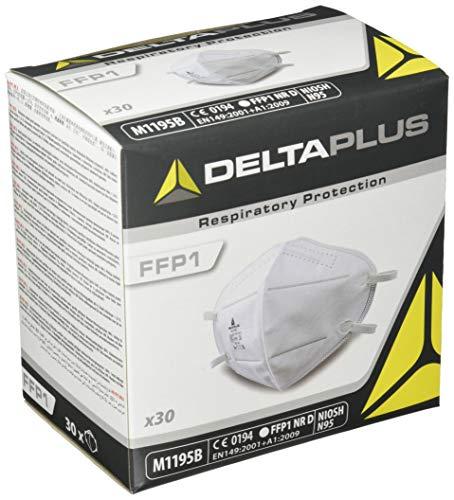 デルタプラス(DELTAPLUS) N95マスク 1箱30枚入 NIOSH認定 N95 M1195B 立体構造 折たたみ 使い捨て不織布マスク FFP1 白