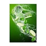 Tulup Impresión en Vidrio - 70x100cm - Cuadro sobre Vidrio - Pinturas en Vidrio - Cuadro en Vidrio - Impresiones sobre Vidrio - Cuadro de Cristal - Comidas Y Bebidas - Verde - Limas