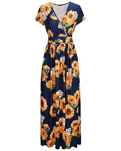 OUGES Damen Sommerkleid Kurzarm V-Ausschnitt Freizeit Blumen-Muster Wrap Maxi Langes Kleid mit Taschen(Farbe-9,M)