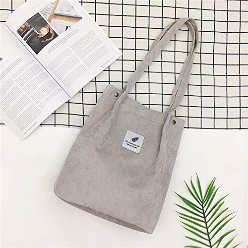 REBKW Bolso de pana sólida para mujer, bolso de la compra, bolso cruzado para mujer, bolso casual (gris, China)
