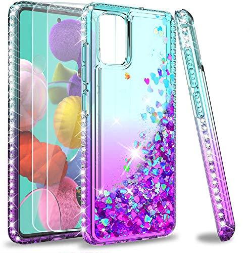LeYi für Samsung Galaxy A51 Hülle Glitzer Handyhülle mit Panzerglas Schutzfolie(2 Stück), Diamond Cover Bumper Schutzhülle für Hülle Samsung Galaxy A51 Handy Hüllen ZX Turquoise Blau
