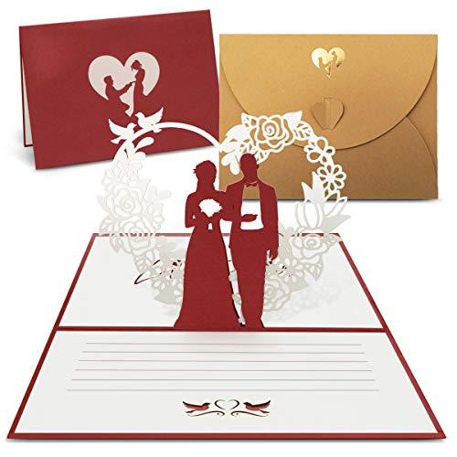 int!rend Lot de 4 cartes de vœux Pop Up avec enveloppe dorée de qualité supérieure - Cartes d'invitation pour mariage, anniversaire, Saint-Valentin, mariage