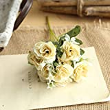 OHQ-Fausse Fleur Decoration Rose Sauvage Bouquet Artificielle Exterieur Exotique Fleuriste Funeraire Guirlande Geante Grande Tige Gypsophile Hibiscus (A, 1PCS)