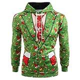 Beonzale Herren Herbst Winter Casual Weihnachtsanzug Muster 3D Print Langarm Hoodie Caps Sweatshirt Pullover Top Bluse