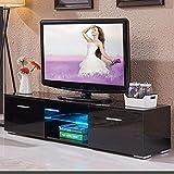 BAKAJI Meuble TV en Bois avec 2 étagères, étagère en Verre + 2 Portes rabattables, avec lumière à LED, Changement de Couleur et télécommande, Design Moderne, laqué Brillant, 140 x 34 x 40 cm (Noir)