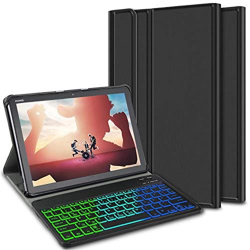 ELTD Tastatur Hülle für Huawei MediaPad M5 Lite 10 (Deutsches QWERTZ-Layout),Hülle mit 7 Farben LED-Hintergr&beleuchtung Kabellose Tastatur für Huawei MediaPad M5 Lite 10 10.1 Zoll 2018 (Coal)