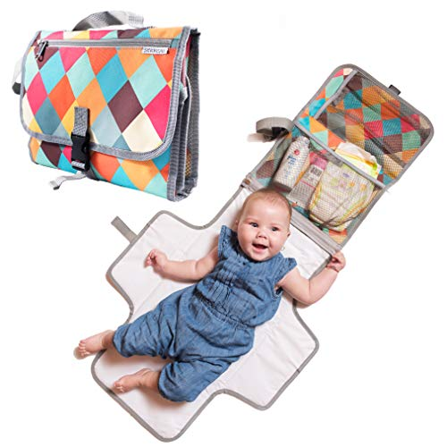 Baby Portable Diaper Changing Pad - Light Travel Clutch and Organizer with Mesh...