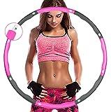 Aoweika Fitness Exercise Hoop zur Gewichtsreduktion,Reifen mit Schaumstoff ca 0,92 kg mit Mini Bandmaß, Einstellbares Gewicht 0,75 bis 0,92 kg beschwerter (Grau-Rosa)