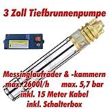 AT- 3' Brunnenpumpe 750W-1 mit 15 m Kabel Edelstahl-Tiefbrunnenpumpe mit Messing-Laufrädern und max: 5,7 bar, 3000l/h bei 7 m