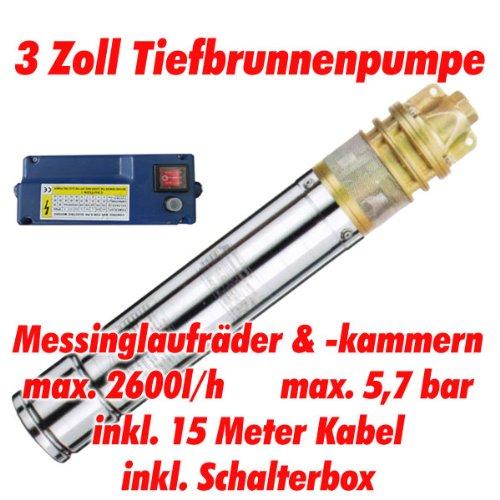 """AT- 3\"""" Brunnenpumpe 750W-1 mit 15 m Kabel Edelstahl-Tiefbrunnenpumpe mit Messing-Laufrädern und max: 5,7 bar, 3000l/h bei 7 m"""