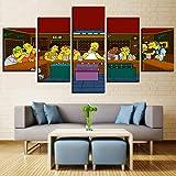 Aehoor Moderna Art 5 Piezas/Set HD Cuadro en Lienzo Impresión Artística Imagen Gráfica Decoracion de Pared Pintura de Pared Corredor Oficina Sala Decorativo The Simpsons 80/60/40x30CM Frame