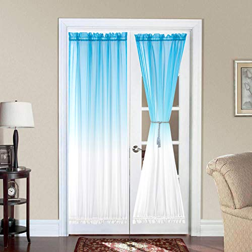 Bermino Ombre French Door Curtains, Faux Linen Voile Rod Pocket Semi Sidelight Curtain for Living Room Patio Sliding Glass Door Window Set of 2 Panels 40 x 72 inch Sky Blue Gradient