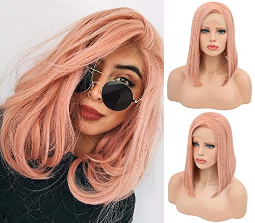 MSSugar521 Pink Color lace Wigs Short Bob Wigs for Women Affordable Synthetic Lace Front Wigs with Side Part Cheap Funny Synthetic Hair Wigs