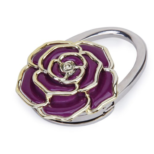 Plegable Colgador Adorno de Bolsa en Froma de Rosa Flor Púrpura