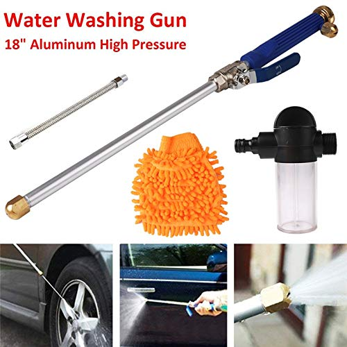 Hoge druk Water Gun 46 cm Metalen Water Gun High Power Washer Spray Auto Wasmiddelen Met Washandschoen Fles Bellows Slang