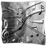 Pañuelo de notas musicales de poliéster con bolsillo cuadrado, mulipurposo, seda y estampado delicado, de oveja, color negro y blanco