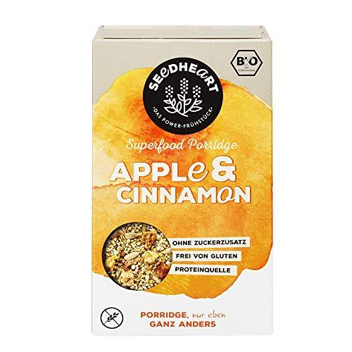 Seedheart Bio-Superfood Porridge Apfel Zimt 250gr ohne Hafer | Glutenfrei | Kein Getreide | Ohne Zucker | Buchweizen Lupinen Hirse Amaranth Quinoa