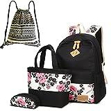 Neuleben Schultaschen 4 Set Schulrucksack + Handtasche + Federmäppchen + Beutel aus Canvas für Damen Mädchen Kinder (Schwarz/Rot)