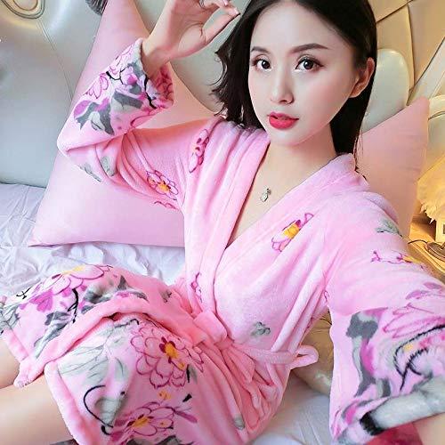 AIYASIWEI Stijlvolle en zachte zachte zachte flanel Koraal Fleece vrouwen Warm Volledige Mouw Super Lange Badjas Vrouwelijke Kimono Badjas Dressing Jurk Robes Herfst Winter (Kleur : T, Maat : XL(170cm))