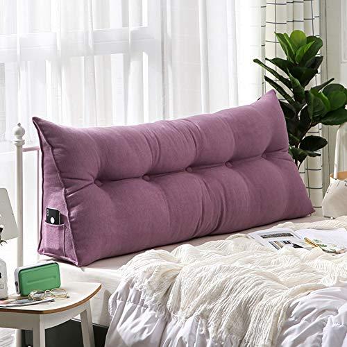 Micaza Bett Große Dreieck Rückenkissen, Rückenlehne Positionierung Unterstützung Kopfteil Rückenlehne Sitzkissen Für Sofa Bett Office Stuhl-lila 200x20x50cm(79x8x20inch)
