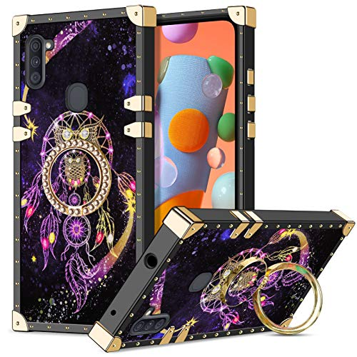 Wollony for Galaxy A11 Case with Kickstand Ring Holder Luxury Unique Design for Women Girls Square Edges Protective Soft Slim Shockproof TPU Shell Cover for Samsung Galaxy A11 Owl 2020 Version