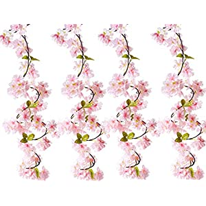 BEFINR Artificial Cherry Blossom Vine Pink Petal Flower Forever Plant Garland for Art Home Decoration Wedding Party Garden Office (Pack of 4)