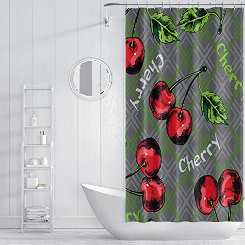 Geometrischer Duschvorhang mit Kirschmotiv, grün-roter Buchstabe, Polyester-Stoff, wasserdicht, waschbar, langlebig, Duschvorhang mit Haken, 183 x 182,9 cm, für Badezimmer oder Badezimmer
